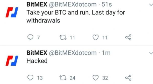 Bitmexov Twitter račun je bil tarča vdora